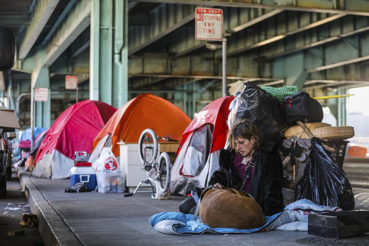 Twitch Napier, who is homeless, sits with her dog, Shiva, near tents set up under the 101 Freeway along Division Street, part of a large homeless encampment, in San Francisco.